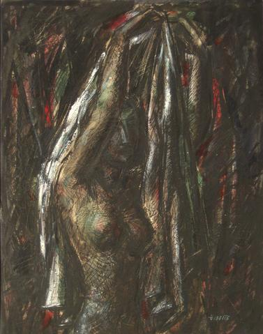 <i>Figure Holding Drapery</i><br>1952 Tempera Paint on Board<br><br>#13534