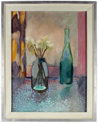 Still Life with Flowers & Wine Bottle<br>Mid Century Oil<br><br>#51898