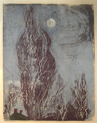 Willowy Trees Under Moonlight<br>1960s Woodcut<br><br>#8817