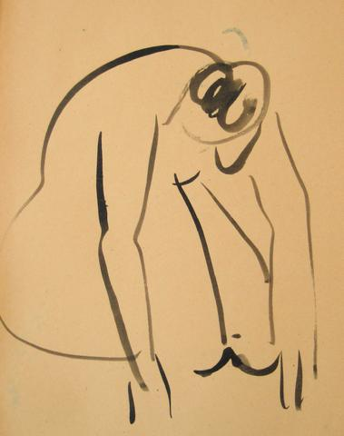 Minimalist Ink Wash Figure<br>1930-50s<br><br>#15977