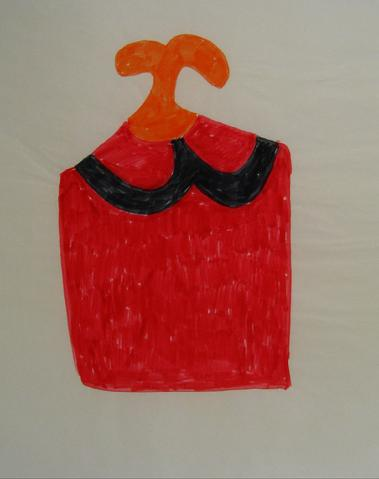 Red & Black Felt Marker Abstract<br>1970s Drawing<br><br>#7592