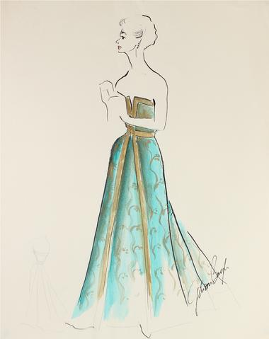 Gown in Turqouise & Gold<br> Gouache & Ink Fashion Illustration<br><br>#26953
