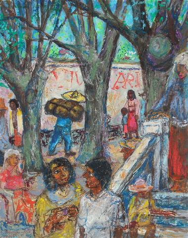 Mexcian Oil Pastel People Scene<br>1954-88<br><br>#9129
