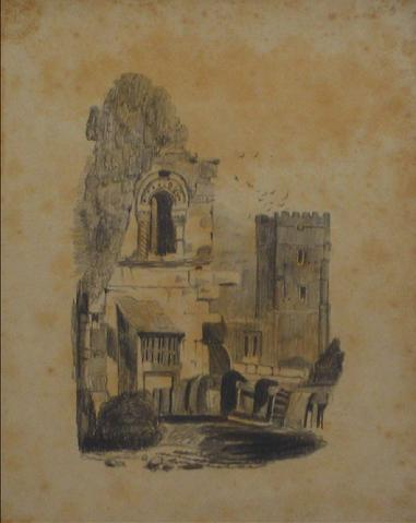 British Castle Scene<br>Early-Mid 1800s Graphite<br><br>#10149