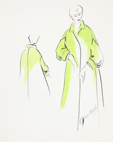 Neon Green Trench Coat<br> Gouache & Ink Fashion Illustration<br><br>#26513