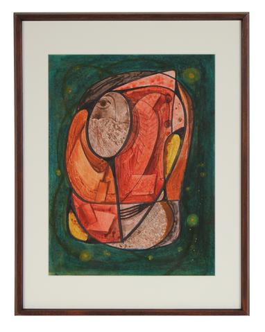 Fiery Geometric Abstract<br>Mid Century Ink and Gouache<br><br>#72007