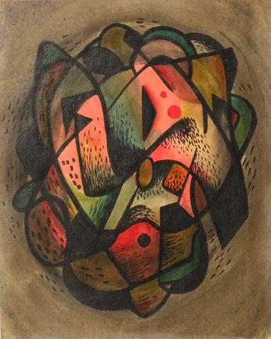 Vibrant Circular Abstract <br>1940s, Tempera Paint<br><br>#13530