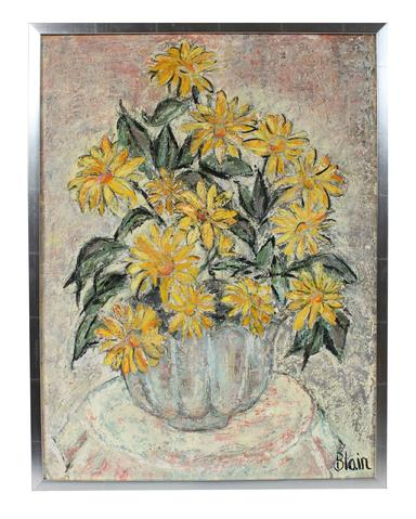 Lush Sunflower Bouquet<br>Mid Century Oil<br><br>#94932