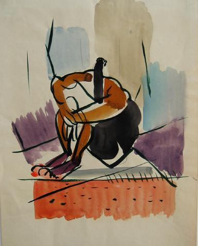 Color Field & Figure<br>Watercolor & Ink, 1930-50s<br><br>#16054