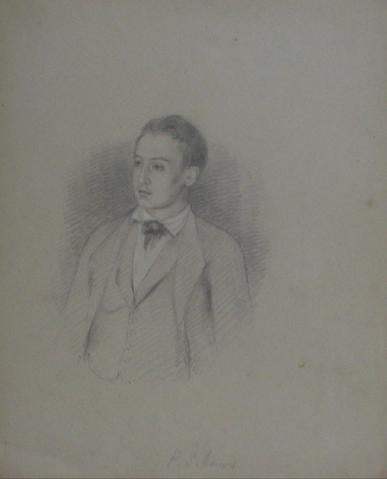 P. S. Lewis Portrait Study<br>Early-Mid 1800s Graphite<br><Br>#10093