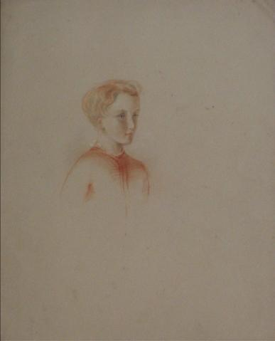 Side View of a Boy<br>Early-Mid 1800s Colored Pencil<br><br>#10096