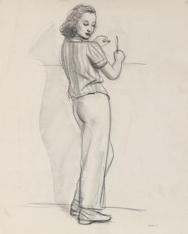 A Poised Woman<br>Early-Mid Century Graphite Drawing<br><br>#90745
