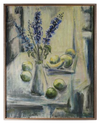 Wild Hyacinths With Fruit<br>Mid Century Oil<br><br>#88120