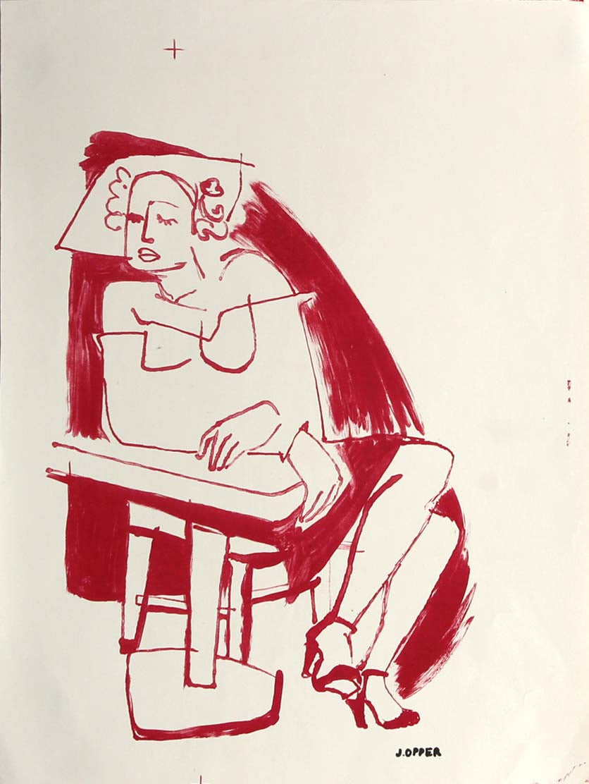 Woman Seated at the Bar <br>1940-50s Stone Lithograph <br><br>#38865