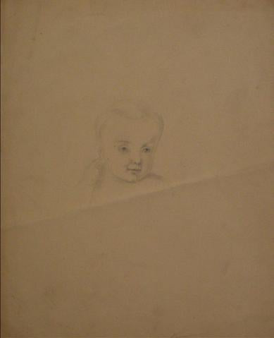 Face Study of a Young Child<br>Graphite, Early-Mid 1800s<br><br>#10133