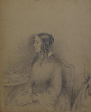 Seated Woman with Book<br>Graphite, Early-Mid 1800s<br><br>#10144