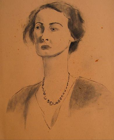 Ink Wash Female Portrait<br>1930-50s<br><br>#16049
