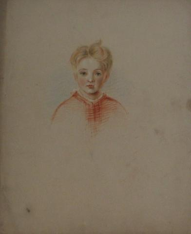 Portrait Study of a Young Boy<br>Colored Pencil, Early-Mid 1800s<br><br>#10095