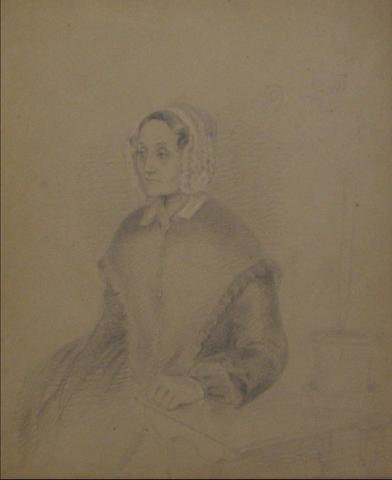 Portrait of an Older Woman<br>Early-Mid 1800s Mixed Media<br><Br>#10140