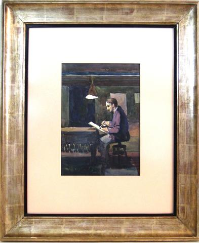 <i>Artist Sketching in Shack</i><br>1920-40s Watercolor<br><br>#9596