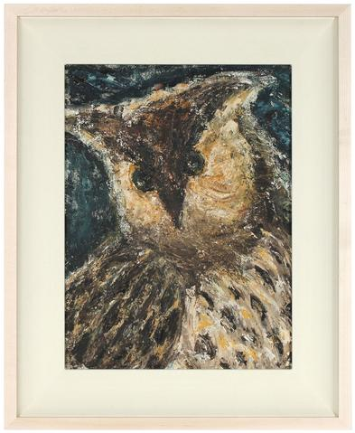 Spotted Owl in Oil<br>Mid Century Oil on Masonite<br><br>#80105