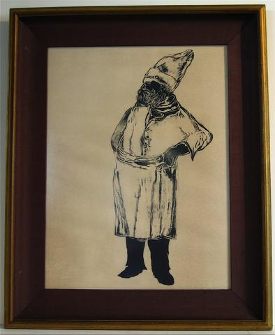 Chef At A Bistro<br>1961 Woodcut<br><br>#8607