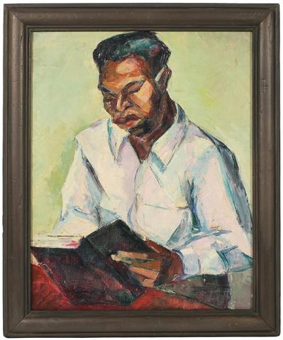 Man Reading<br>1940s Oil<br><br>#49248