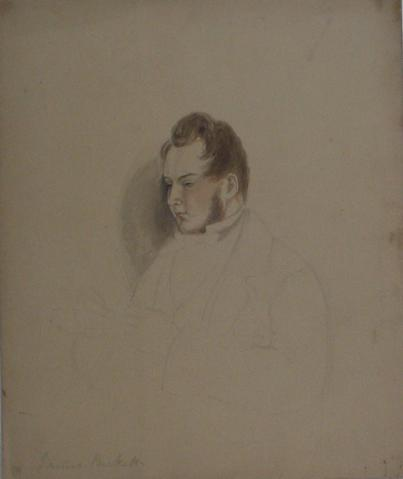 Male Portrait Study, 1800s<br>Watercolor & Graphite<br><br>#10090