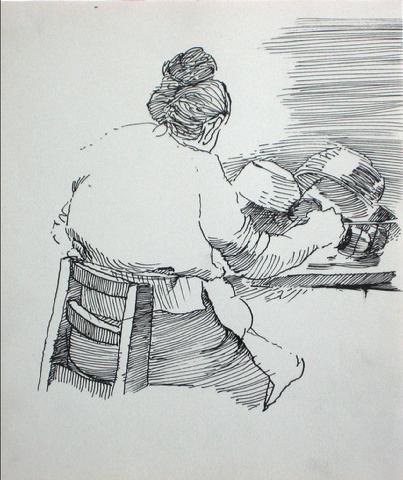 Woman in the Kitchen<br>Ink, 1940-60s<br><br>#10578