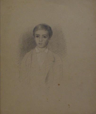 Graphite Study of a Young Man<br>Early-Mid 1800s<br><br>#10145
