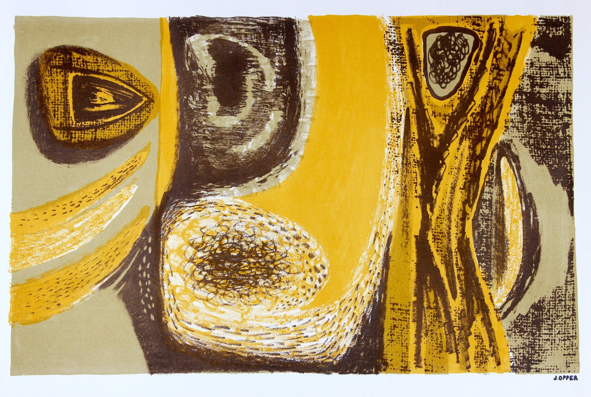 Sea Foam and Yellow Abstract  <br>1940-50s Lithograph <br><br>#40743