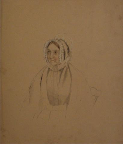 Portrait of an Older Woman<br>Early-Mid 1800s Mixed Media<br><Br>#10141