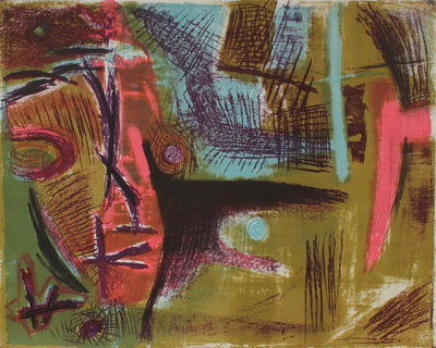 Mid Century Modern Stone Lithograph Abstract<br><br>#41101