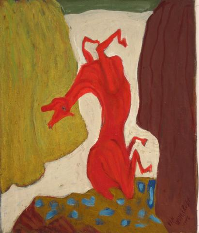 Red Abstracted Horse<br>1940-50s Oil<br><br>#4926