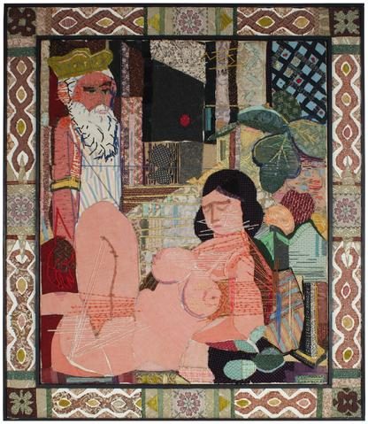 Expressionist Nude Scene<br>Mid Century Textile Fabric Collage<br><br>#51271