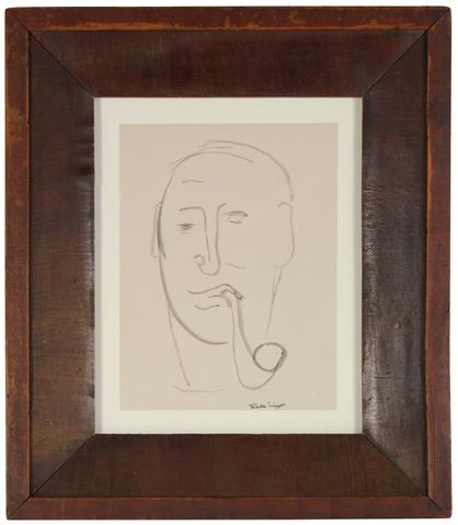 Man with Pipe<br>Mid Century Ink Wash<br><br>#49948