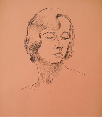 Delicate Portrait Study<br>1930-50s Pen & Ink<br><br>#15957