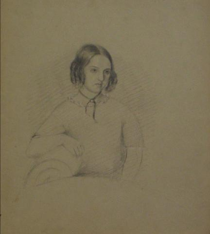 Early-Mid 1800s Graphite Drawing of a Young Woman<br>Portrait Study<br><br>#10135