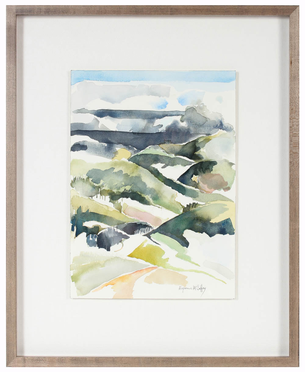 <i>Hills at Crystal Springs</i>, San Mateo<br>20th Century Watercolor<br><br>#43703