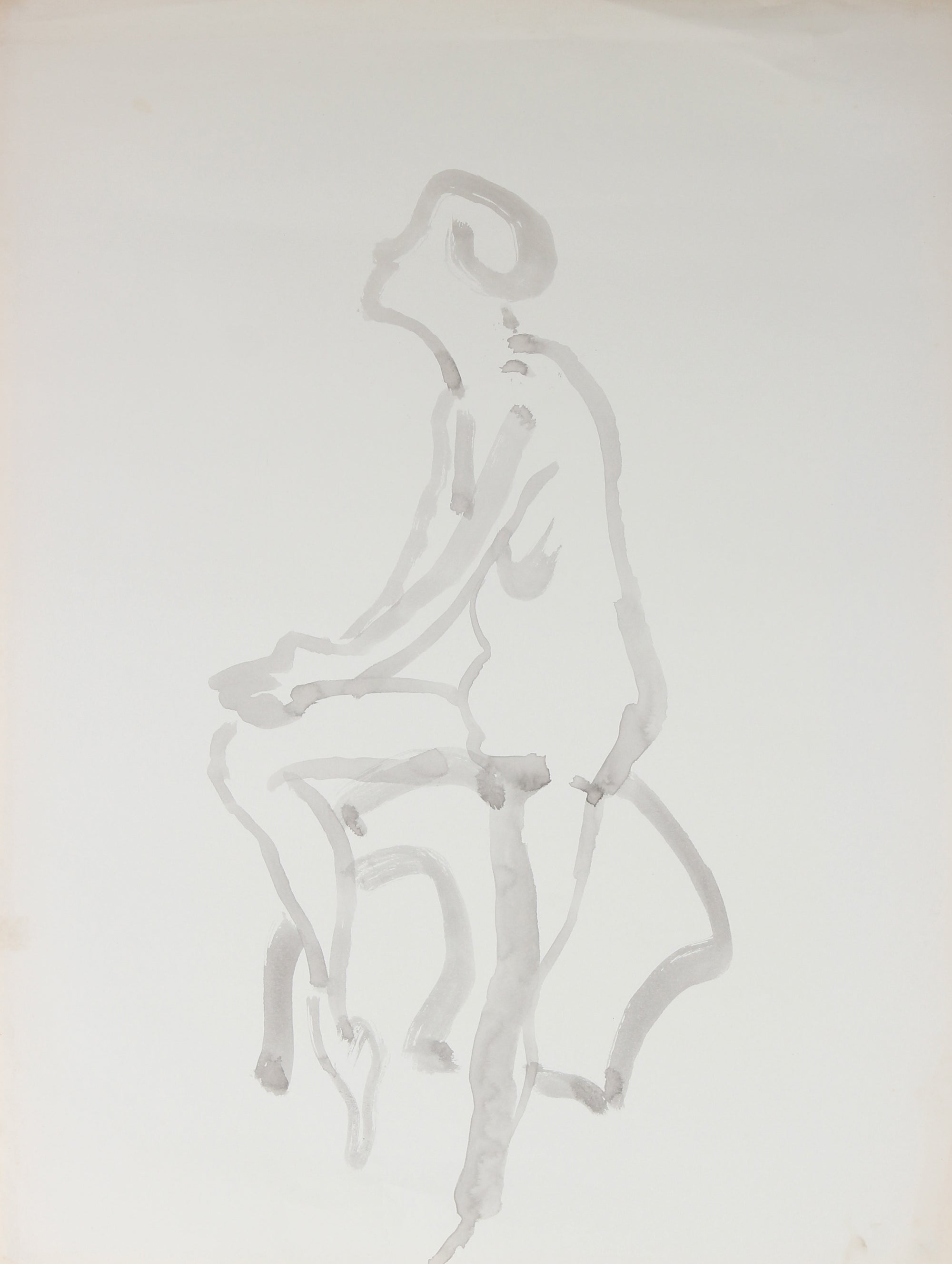 Minimalist Seated Figure<br>Mid Century, Ink Wash on Paper<br><br>#44369