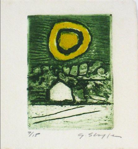 Green Abstracted Landscape<br>1976 Collograph<br><br>#11680