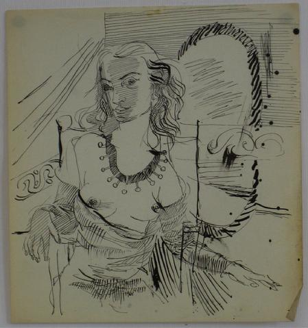 Woman at a Mirror<br>Ink, Mid Century<br><br>#7741