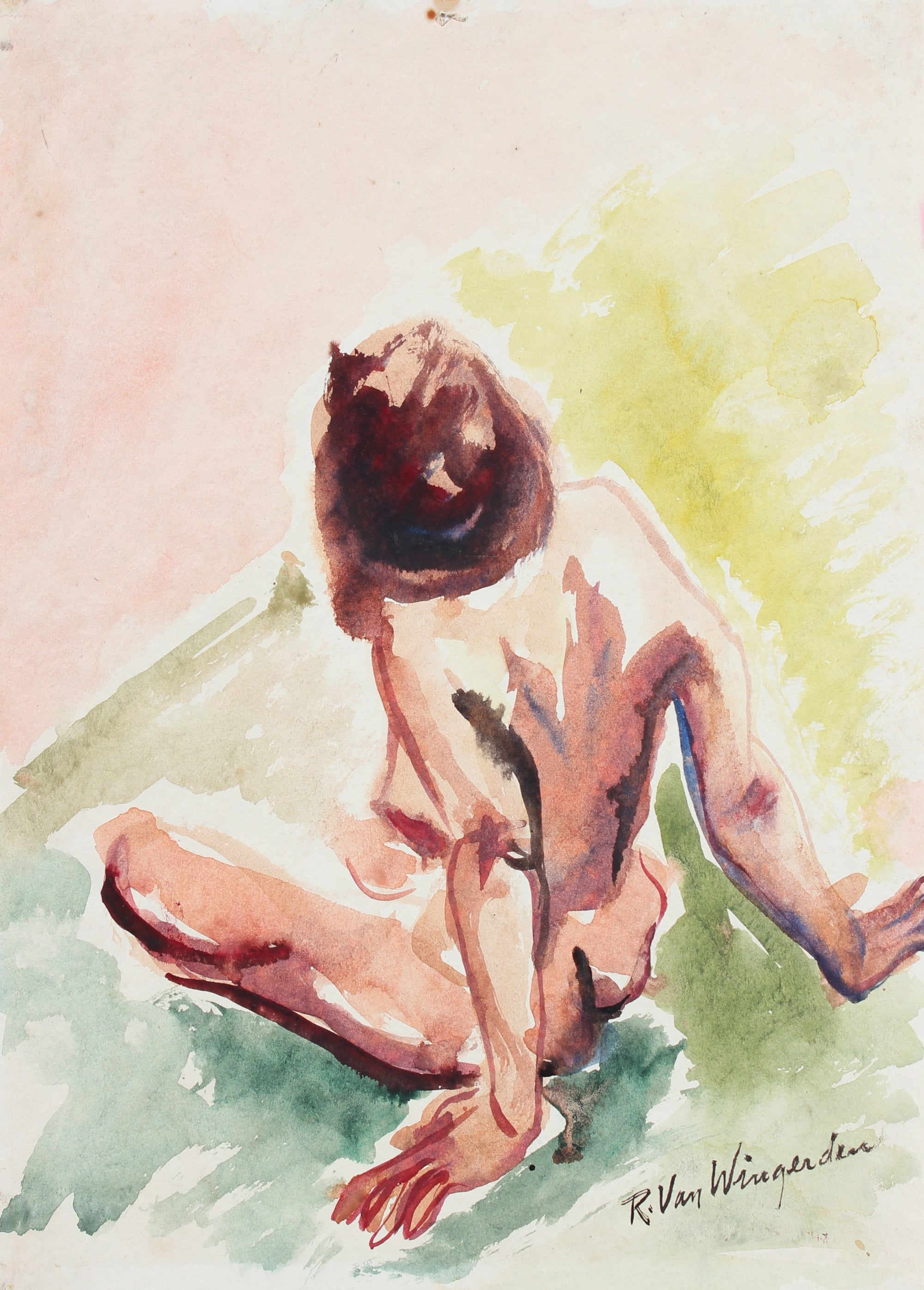 Modernist Nude Abstraction<br>1940-60s Watercolor<br><br>#4542