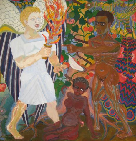 <i>Huey Newton Confronts the Archangel Gabriel in the Garden of Eden</i><br>Biblical Oil Scene<br><br>#4821