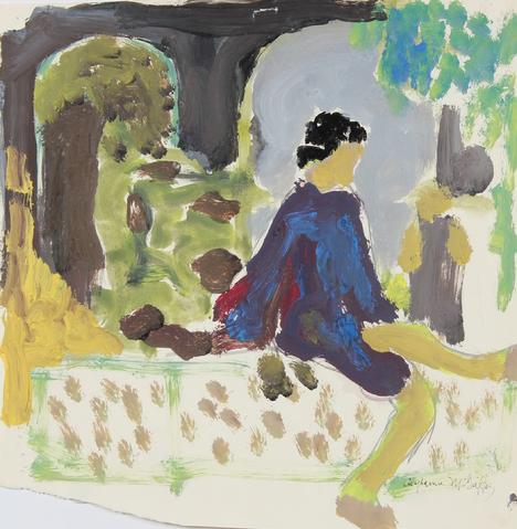 Bay Area Figurative Garden Scene<br>1964 Distemper<br><br>#23252
