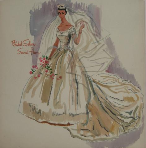 Lovely Bridal Fashion<br>Watercolor, 1946-54<br><br>#5212