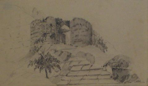 British Castle Ruins<br>Early-Mid 1800s Graphite<br><br>#10156