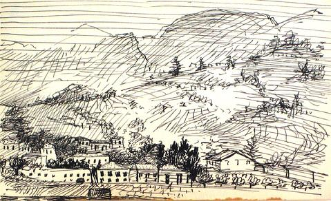 1940-60s Hillside Drawing<br>Ink on Paper<br><br>#10397