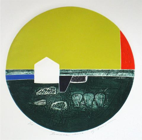 <i>Summer House</i><br>1976 Collograph Abstract<br><br>#12000
