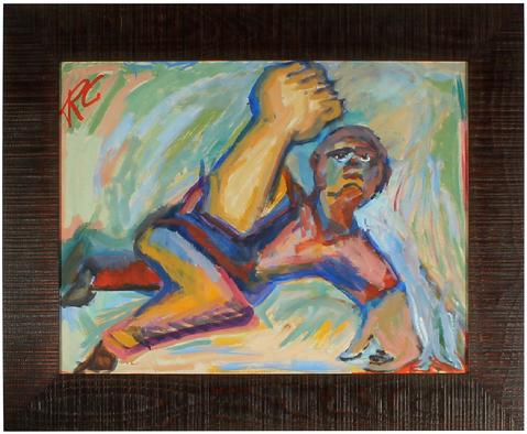 Vivid Abstracted Figure<br>Mid Century Oil<br><br>#4829